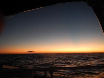 First sunset while underway.